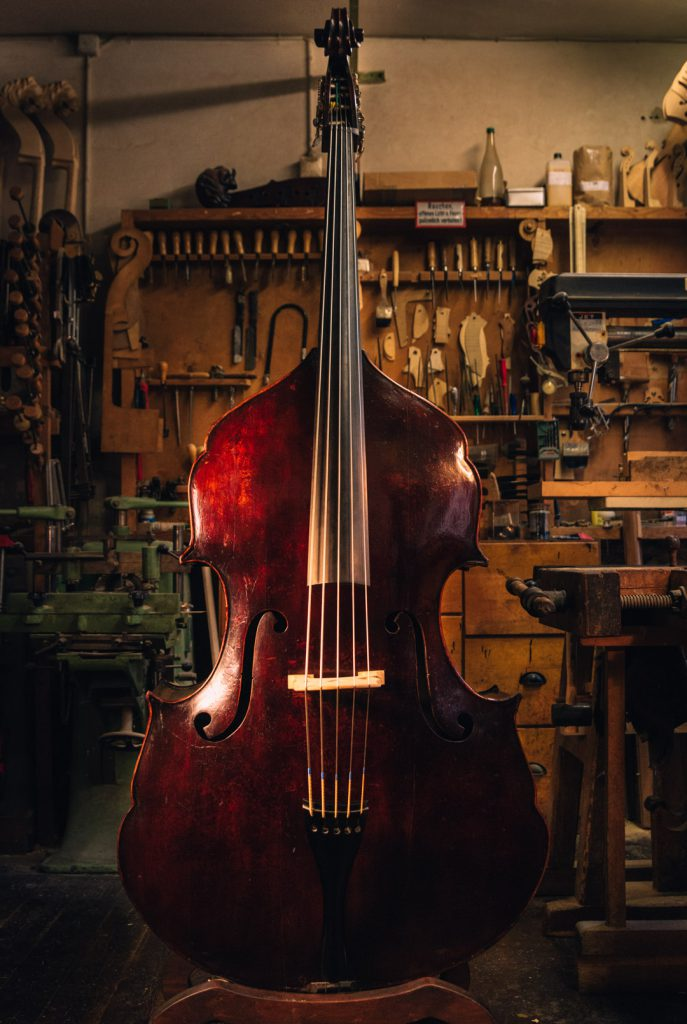 Double bass 1960 special shape top used instruments